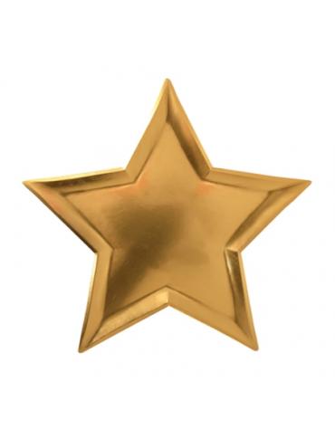12 Grandes assiettes étoiles dorées