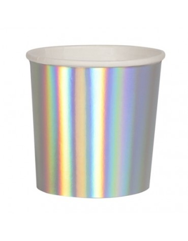 8 Petits gobelets Argent holographique
