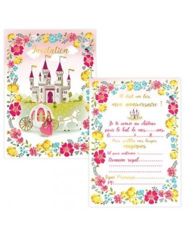 1 Carte Invitation et Enveloppe Princesses