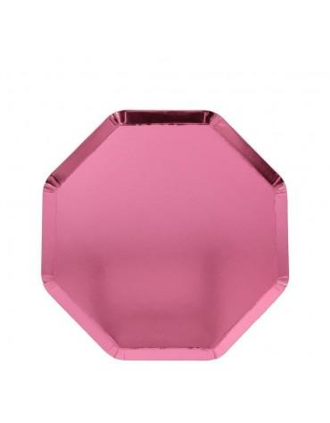 Petites assiettes Rose Métalisé carton Meri Meri décoration table de fête