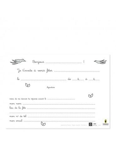 8 Cartes Invitation Ma belle Licorne Pirouette Cacahouète