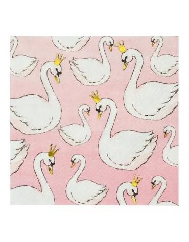 12 petites serviettes cygnes