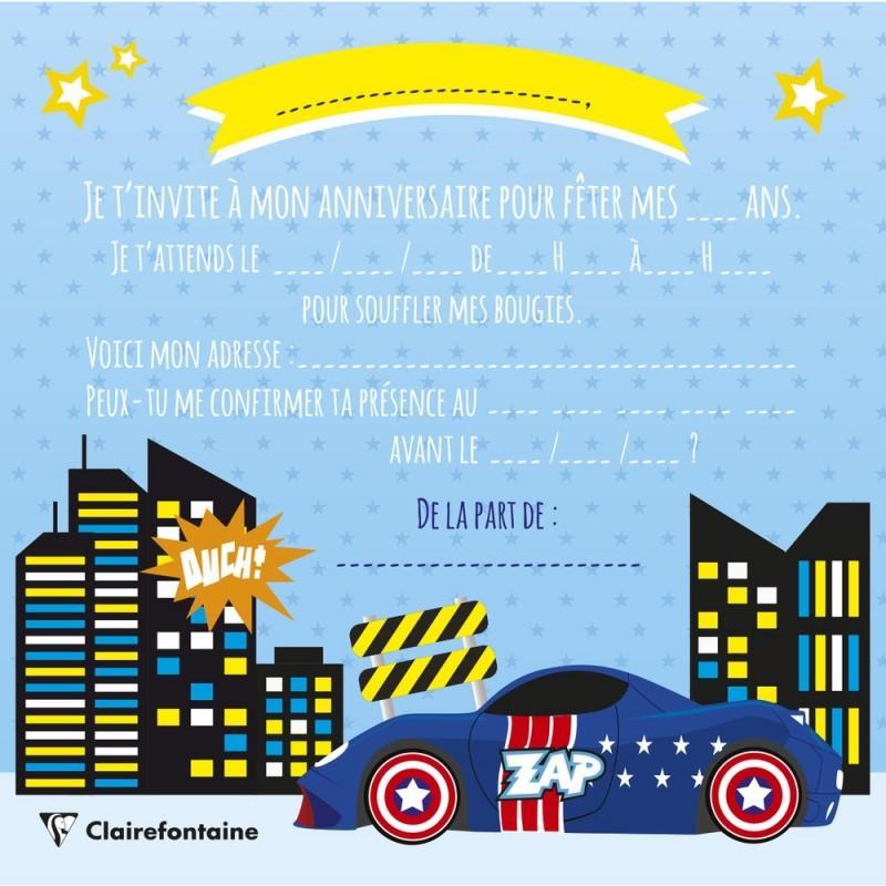 Invitations Et Enveloppes Super Heros Pour Fete Anniversaire Originale