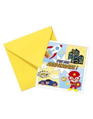 Cartes Invitation et Enveloppes Super-héros Clairefontaine