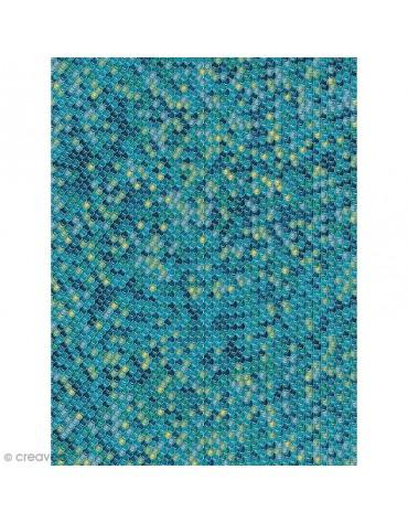 1 Feuiille Décopatch écailles bleues