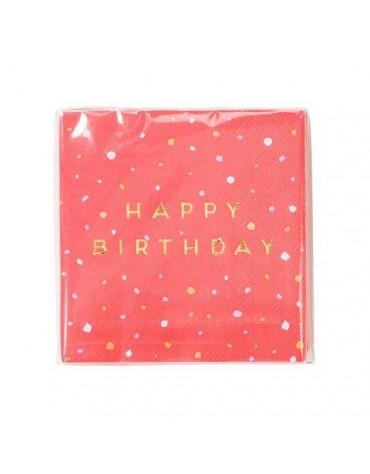 16 serviettes Roses Happy Birthday