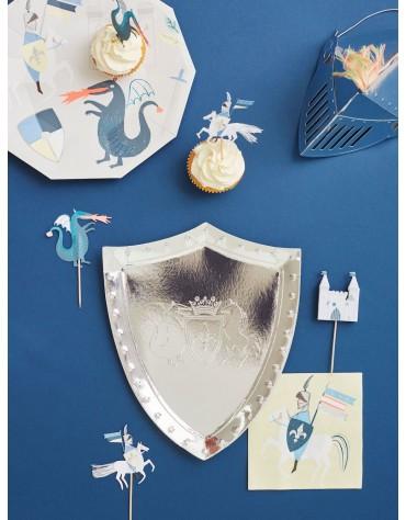 Grandes assiettes Chevalier et dragon Meri Meri décoration table de fête
