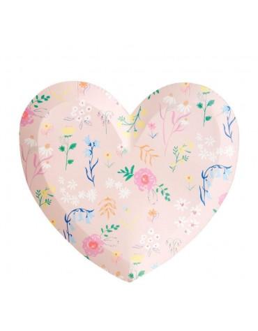 Grandes assiettes Coeur fleurs carton Meri Meri décoration table de fête