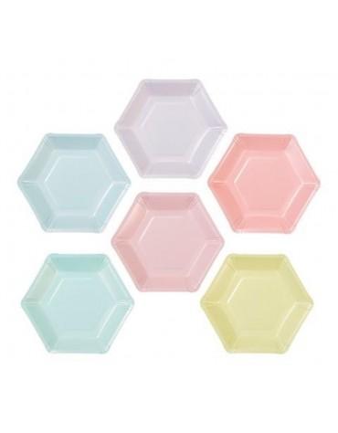 Assiettes carton Hexagonales Pastel Talking Tables Meri Meri décoration table de fête