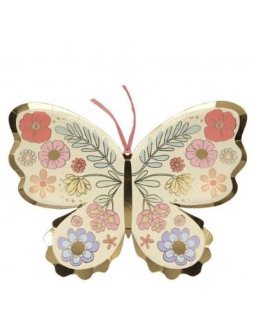 8 Grandes assiettes carton Papillon Meri Meri décoration table de fête