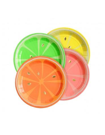 Petites assiettes carton agrume flashy Meri Meri décoration table de fête