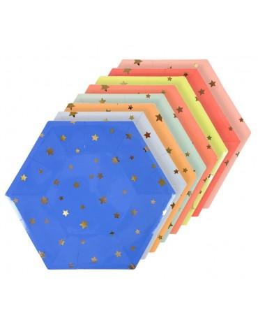Grandes assiettes carton Multicolores étoiles Meri Meri décoration table de fête