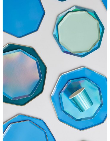 Petites assiettes Bleu étincelant carton Meri Meri décoration table de fête