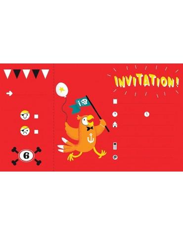 Carnet de 12 Invitations Pirate original Avenue Mandarine