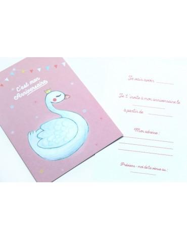 Cartes Invitation Cygne les cahiers de Constance