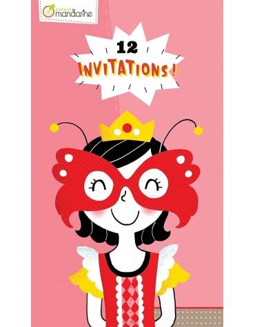 Carnet de 12 Invitations princesse original Avenue Mandarine
