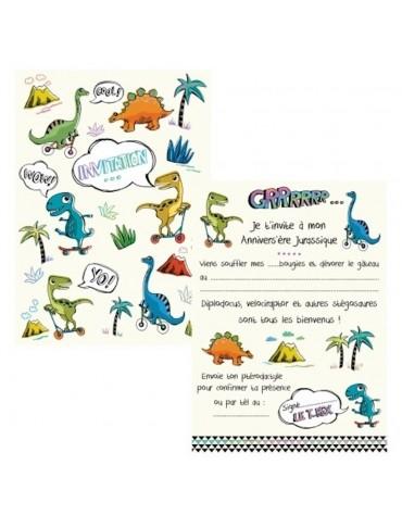 Cartes Invitation thème Dinosaure à remplir Cartesdart