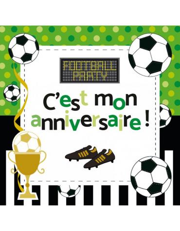 Invitations et enveloppes anniversaire thème Foot Clairefontaine