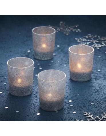 Photophores en verre pailletés argentés décoration de Noël