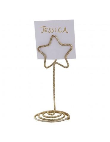 Marque-places étoile dorée fête décoration Noël