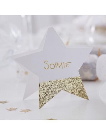 Marque-places papier étoile dorée décoration Noël