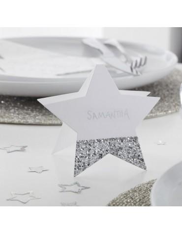 Marque-places papier étoile argentée décoration de Noël