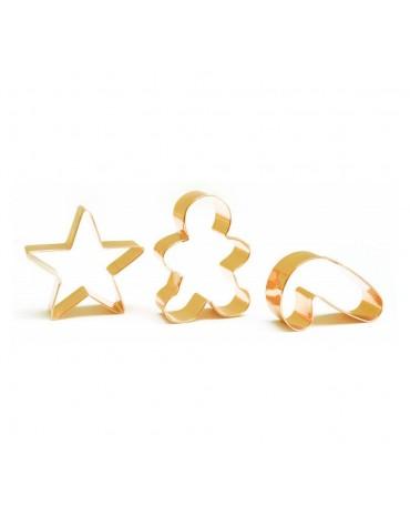 3 Découpoirs Inox dorés Gingerman/ sucre d'orge/étoile ScrapCooking