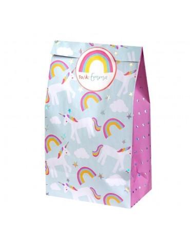8 Sachets cadeaux Licornes en papier