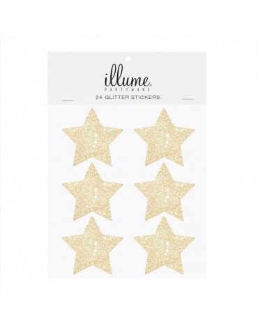 24 Stickers étoiles dorées