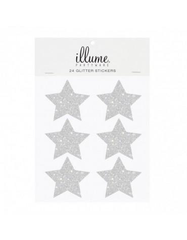 24 Stickers étoiles argentées.