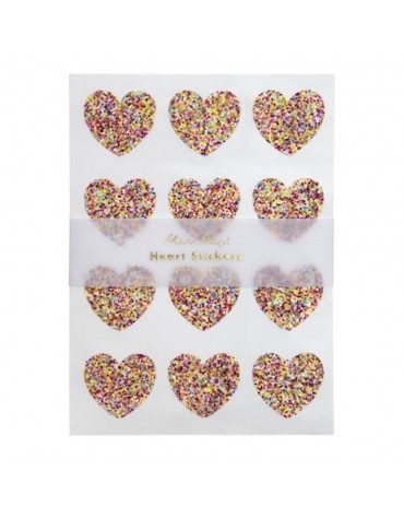 10 feuilles Stickers Coeurs pailletés multicolores