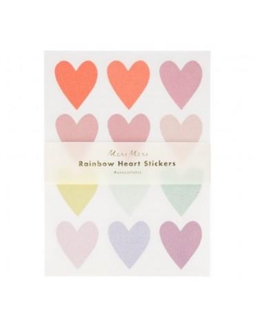 10 feuilles Stickers Coeurs pailletés