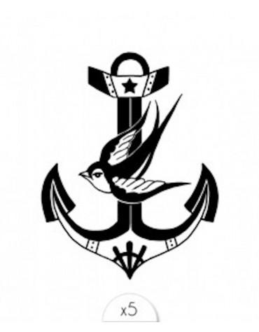 5 Tatouages Ancre oiseau