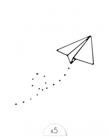 5 Tatouages Avions en papier