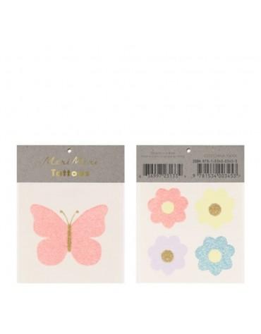 Tatouages Papillon et fleurs