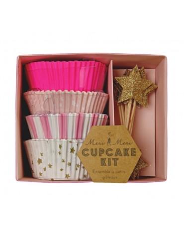 Kit 24 caissettes Cupcakes Roses et étoiles dorées ScrapCooking