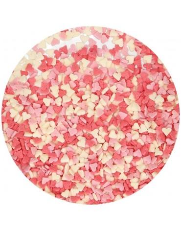 1 pot Coeurs roses en sucre tricolore décoration gâteau