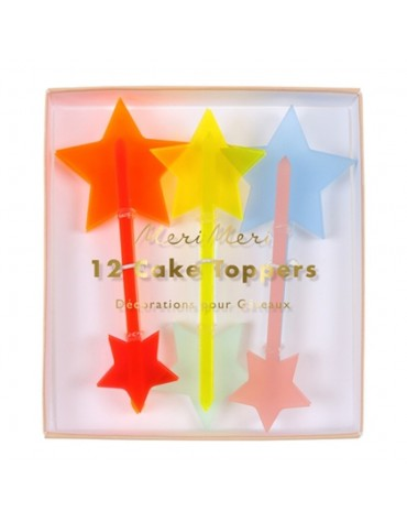 6 petits Toppers Etoiles Flashy