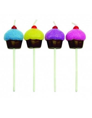 8 Bougies Cupcakes paillettés