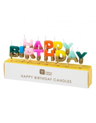 Bougies Arc-en-ciel Happy Birthday Talking Tables