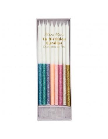 16 Bougies Paillettes Multicolores Meri Meri