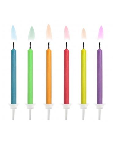 6 Bougies flammes colorées