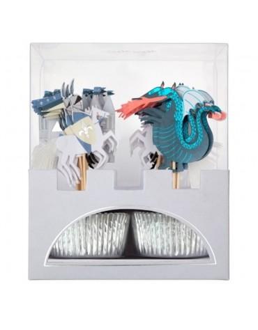 Kit 24 caissettes Cupcakes Chevaliers et dragons
