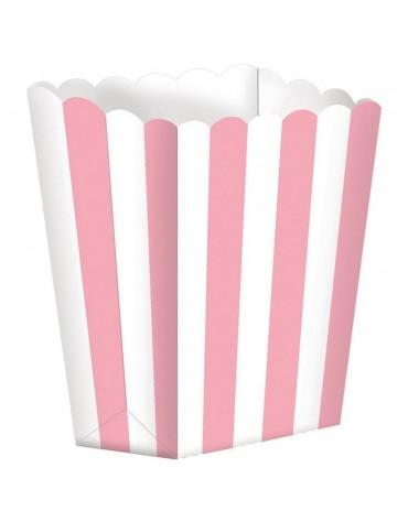 5 Boites Popcorn rayées Roses