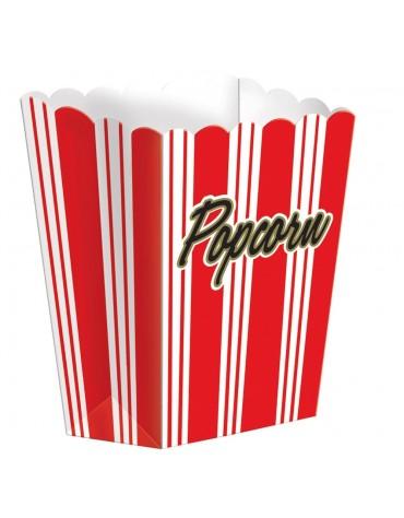 8 Boites Popcorn rayées Rouges