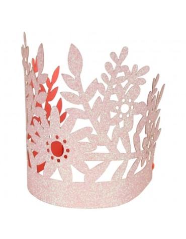 8 Couronnes fleurs roses pailletées Meri Meri