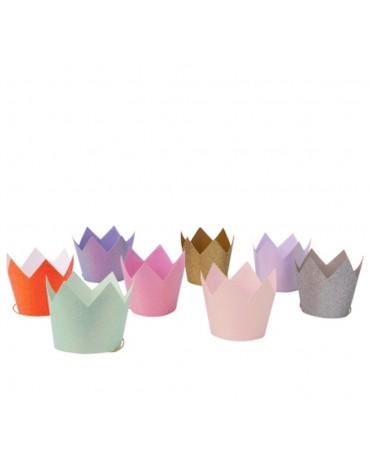 8 Couronnes pailletées multicolores Meri Meri