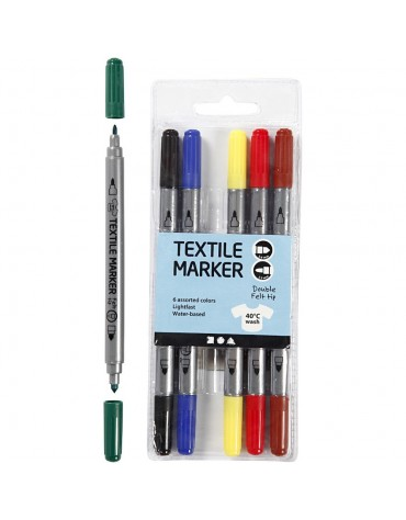 6 Feutres textiles couleurs classiques anniversaire enfants