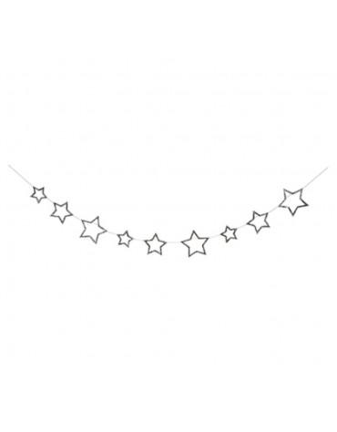 1 Guirlande étoiles en argent décoration fête anniversaire