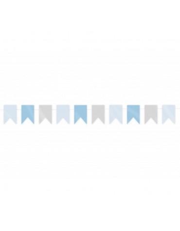Guirlande Mini Fanions Gris et Bleus décoration fête anniversaire